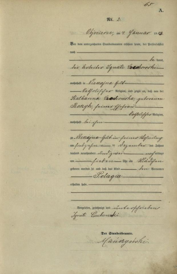 1903 U Pelagia Czechowska