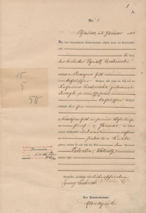1904 U Walenty Czechowski