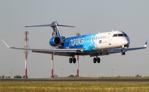 Lądowanie Nordica - linii lotniczej z Estonii, która wypożyczyła LOTowi samoloty :)