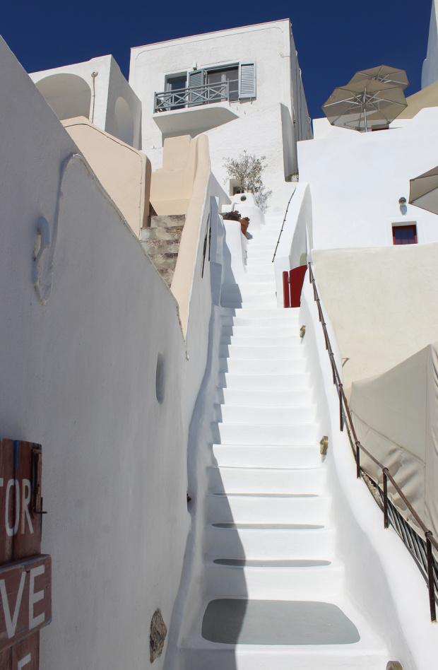 Schody na wyspie Santorini, Grecja