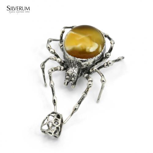 pająk - www.silverum.com.pl #wisiorek, #pająk, #biżuteria, #bursztyn, #bałtycki, #unikat, #rękodzieło